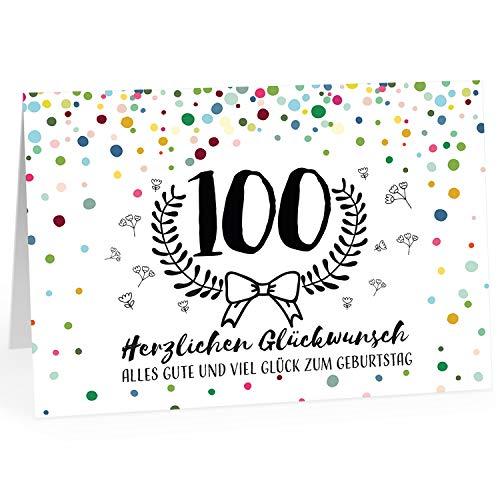 Große Glückwunschkarte zum 100. Geburtstag XXL (A4) Modern/mit Umschlag/Edle Design Klappkarte/Glückwunsch/Happy Birthday Geburtstagskarte/Extra Groß/Edle Maxi Gruß-Karte