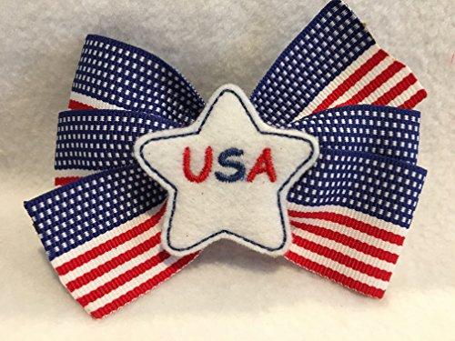 Grosgrain Ribbon Hair Bow, Patriotic Hair Bow, Patriotic Hair Clip