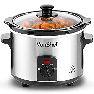 VonShef Slow Cooker with Removable Oven to Table Dish & Toughened Glass Lid, 3 Heat Settings Including Keep Warm Function, Stainless Steel – 1.5L