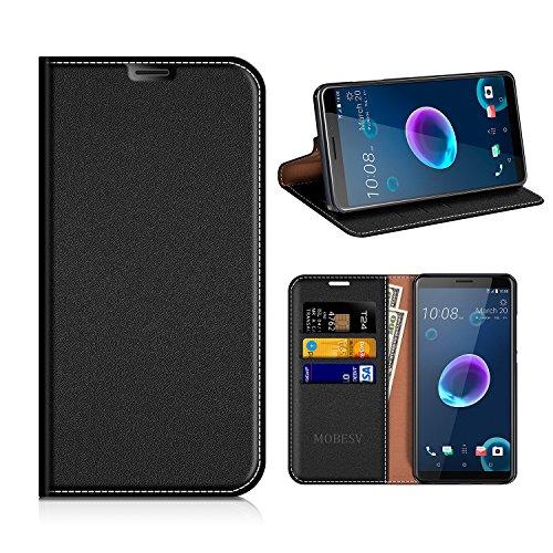 MOBESV HTC Desire 12 Hülle Leder, HTC Desire 12 Tasche Lederhülle/Wallet Hülle/Ledertasche Handyhülle/Schutzhülle mit Kartenfach für HTC Desire 12 - Schwarz