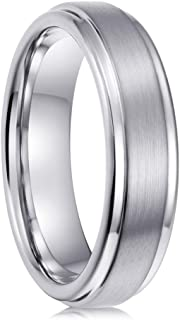 PINONLY Tungsten Carbide Ring Mens Wedding Band,Mens Engagement Ring,Promise Ring Him,Tungsten Ring Women,6mm 8mm,Black Rose Gold Blue White,Comfort Fit,Brushed