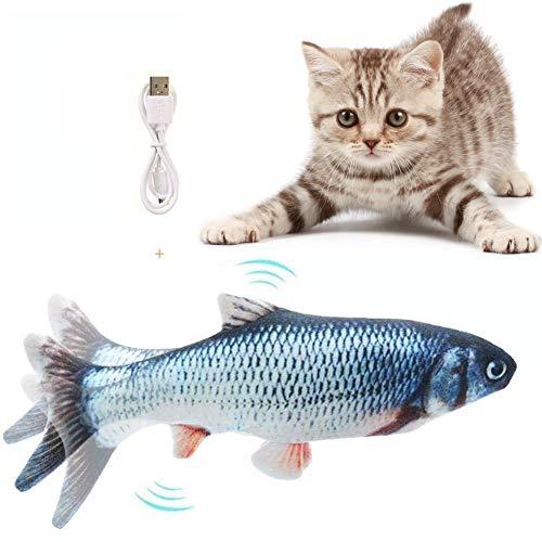 Flysee Eléctrica Juguete Pez para Gato,Peluche de Juguete eléctrico de simulación Fish Fish con Carga USB,Mascotas Interactivo de Felpa Pez para morder, Masticar, patear y Dormir