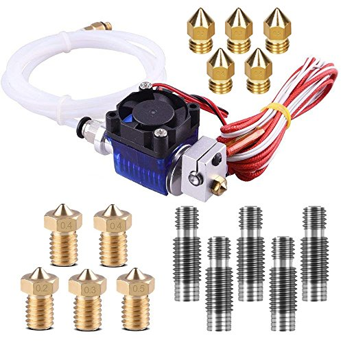 V6 Hotend Full Kit, TopDirect 16pcs 3D Printer J-Head V6 Hot End with Cooling Fan + 10pcs Brass Extruder Print Head + 5pcs Stainless Steel Nozzle Throat for V6 Makerbot RepRap 3D Printers