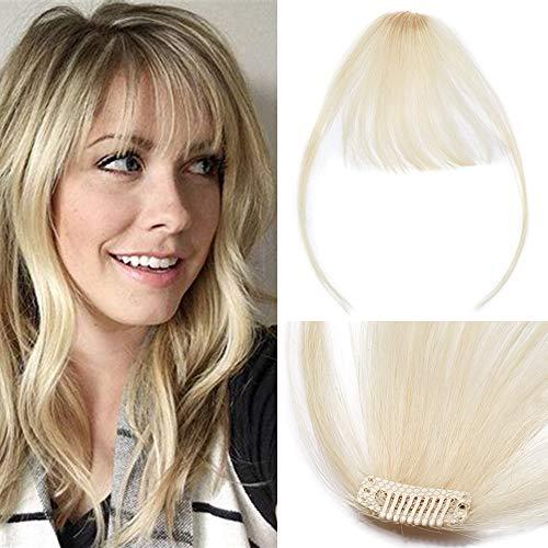 TESS Clip in Extensions Echthaar Pony Haarteil Haarverlängerung dünne Pony glatt 1 Clip günstig Extension 3g #613 Blond