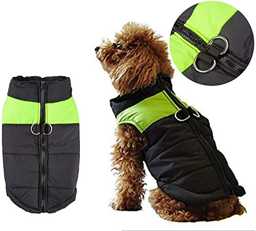 Shinmax Small Dog Regenjas, jas, gevoerd met fleece voor warmte, Chest Protector Buffer Dog Pet Puppy kleding voor herfst winter S (Back:10.13inch Chest 13.17inch) Groen