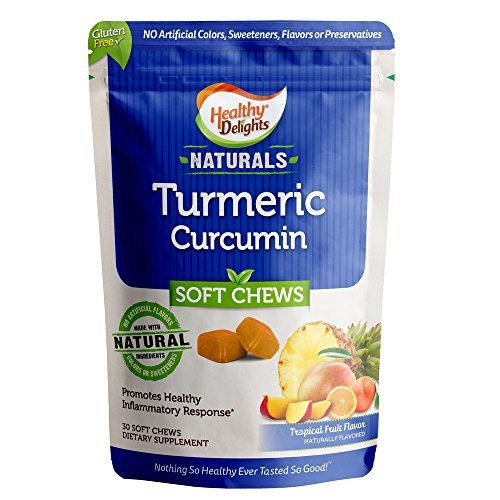 Healthy Delights Naturals - Turmeric Curcumin Soft Chews - Promotes Healthy Inflammation Response - 100 mg of Turmeric per Chew - Delicious Tropical Fruit Flavor - 30 Count