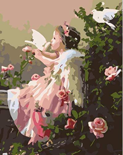 Pintar por Numeros Adultos Niños DIY Pintura por Números con Pinceles y Pinturas Niña y palomas 16X20 Pulgadas, Sin Marco