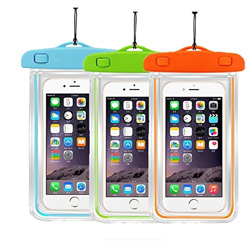 """[3Pack]Waterproof Case Universal CellPhone Dry Bag Pouch CaseHQ for Apple iPhone 8,8plus,7,7plus,6s, 6, 6S Plus, SE, 5S, Samsung Galaxy s8 s8Plus S7, S6 Note 7 5, HTC LG Sony Nokia up to 5.8"""" diagonal"""