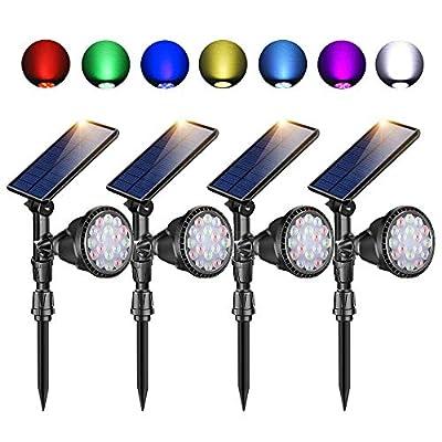 Outdoor Solar Spot Lights,Super Bright 18 LED Security Lamps Waterproof Spotlight for Garden Landscape Path Walkway Deck Garage (7 Colors, 4 Pack)