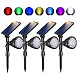 Outdoor Solar Spot Lights,Super Bright 18 LED Security Lamps Waterproof Spotlight for Garden Landscape Path Walkway Deck Garage (7 Colors, 4 Pack)