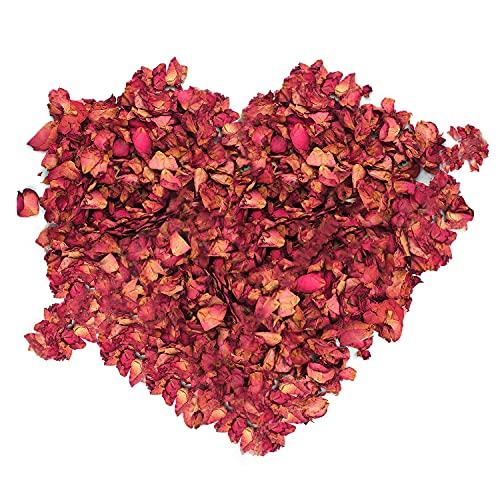 LEEQBCR 100g Pétalos de rosa secos naturales de pétalos de rosa roja para pies baño spa boda confeti casa fragancia manualidades accesorios