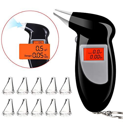 Faburo Alcoholimetro Homologado con 10 Boquillas, Probador de Alcohol portátil, Alcoholímetro Professional con Pantalla LCD, Baterías no Incluidas