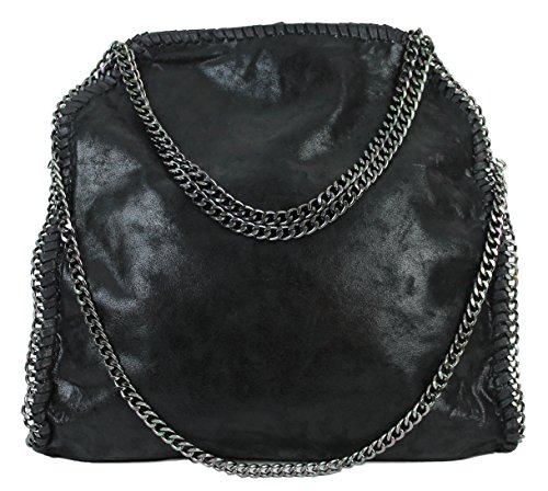 Limited Colors Glitzer Metallic Handtasche VIVIEN Damen Schwarz Shopper Beuteltasche Lederlook mit Kette (Schwarz ohne Anhänger)
