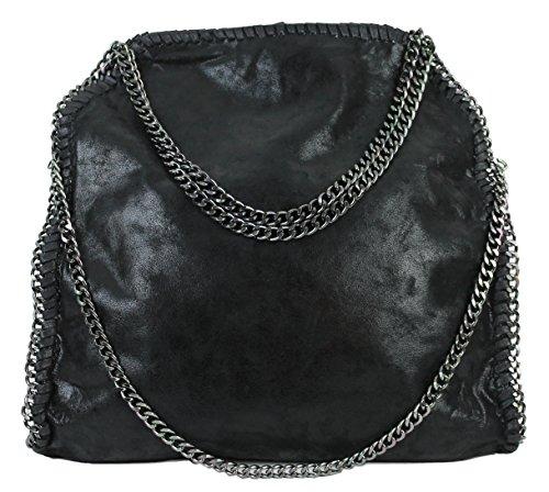 Limited Colors Glitzer Metallic Handtasche VIVIEN Damen Schwarz Shopper Beuteltasche Lederlook mit Kette (Schwarz ohne Anhänger)