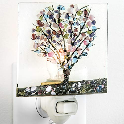 Tree Night Light Decorative Accent Lite Wall Plug in Nightlight for Hallway Bedroom Bathroom Kitchen Nature Themed Home Décor Blue Purple Green J Devlin NTL 159-2