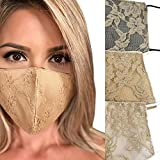 3 Pack Lace Cloth Face Mask, Beige Lace, Champagne Lace, Off White, Weddings, Showers, Bridal Parties, Made in USA (Nudes Set)