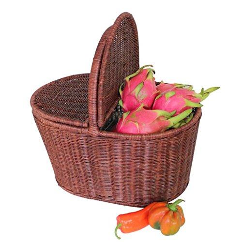 Xuan - Worth Having Brown Rattan Hand Basket Accueil avec Couverture Alimentation Fruit Basket Panier Pastoral créatif Panier de Pique-Nique en Plein air Plateau en rotin Cadre en Acier Fait Main