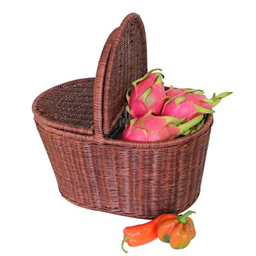 Panier de rangement Brown Rattan Hand Basket Accueil avec couverture Alimentation Fruit Basket Panier pastoral créatif Panier de pique-nique en plein air Plateau en rotin Cadre en acier fait main Ro
