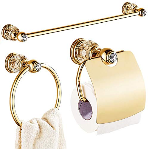 ZYC Portarrollos de papel higiénico de latón macizo con circonitas, chapado en oro pulido, toallero con base redonda, accesorio de baño, 2 unidades