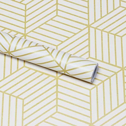 45cm x 10m Beige und Geometrische Streifen des Golden Sechsecks Tapete Selbstklebende Gold Streifen Kontaktpapier Wanddeko Gestreift Moderne Wandverkleidung Folie Möbelfolie Küchen Wohnzimmer Vinyl