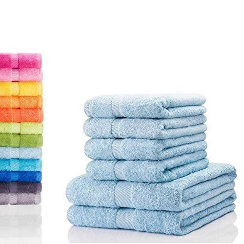 etérea Carli 6 TLG Handtuch Sparset 4X Handtücher, 2X Duschtücher - 100% Baumwolle und Oeko Tex Standard 100 - Qualitäts Frottierware 500 g/m² - Farbe: Hellblau