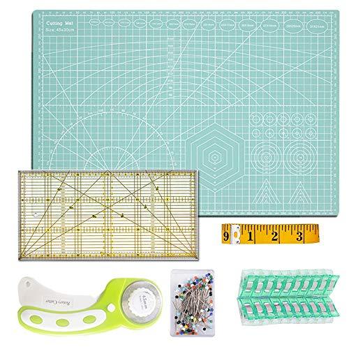 A3 Schneidematte Set + Stoffschneider Rollschneider + Patchwork-Lineal + Stoffklammer (20 Stück) + Stecknadeln (50 Stück) + Schneidermaßband (300cm) 6tlg- Schneidematte Starter Set (Minzgrün Neu)