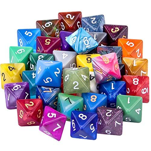SIQUK 35 Piezas Dados de rol Poliédrico 8 Caras Dados de Colores para DND y Enseñanza de Matemáticas, con Bolsas