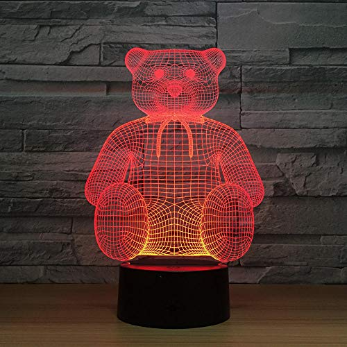 3D Lampe Illusion Optique LED Veilleuse Ourson en peluche, 7 Couleurs Tactile Lampe De Chevet Chambre Table Art Déco Enfant Lumière De Nuit Avec Câble USB Nouveauté De Noël Cadeau D'anniversaire