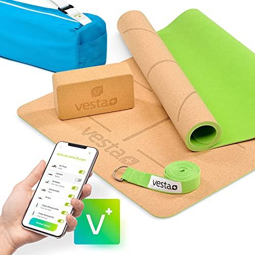 Vesta+ Yogamatte Kork+ Yogablock+ Yogagurt+ Tasche+ Fitness App | Deine Yogamatte Kautschuk aus öko Naturkork | Kork Yogamatte rutschfest | Die...