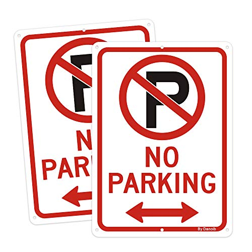 2-Pack No Parking Signs with Arrows,10x7 Rust-Free Aluminum UV Printed, Two Pre-drilled Holes for Easy to Mount,Weather Resistant Long Lasting Ink for Driveways/Bussiness/Garage/Yard/Mail Box
