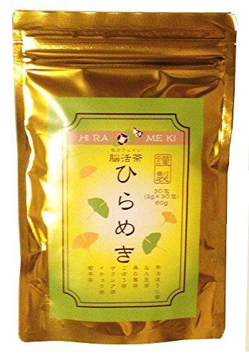脳活茶ひらめき 60g 2g×30パック 宇治ほうじ茶 なた豆茶 桑の葉茶 ごぼう茶 サラシア茶 イチョウ茶 菊芋茶の混合茶