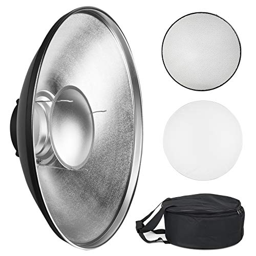 Soonpho 16in/42cm Standard Reflector Beauty Dish with Honeycomb Grid,White Diffuser Sock and Bag,for Bowens Mount Studio Strobe Flash Light Like Neewer VC-400HS VE-300 Godox AD200 AD180 AD360 AD360II