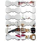 YUN Decoración De La Pared Etiqueta Engomada Espejo Bow Pie DIY Art For Home Guarders Room Decoration Acrylic (Plata)