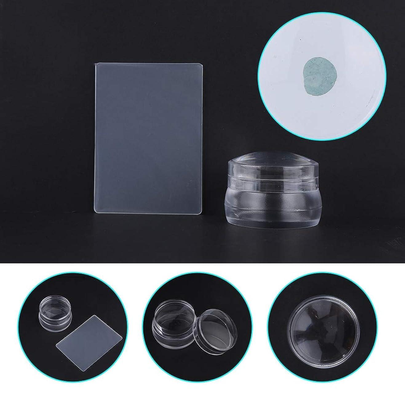 バルーン骨折ブラストふたのスクレーパーマニキュアの釘の印刷用具が付いている透明なシリコーンの釘の芸術のスタンパー
