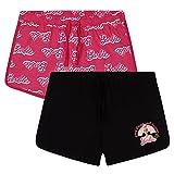 Barbie Pantaloncini Bambina, 2-Pack Pantaloncini Corti, Shorts Estivi in Cotone 3 a 14 Anni (Rosa/Nero, 7-8 Anni)