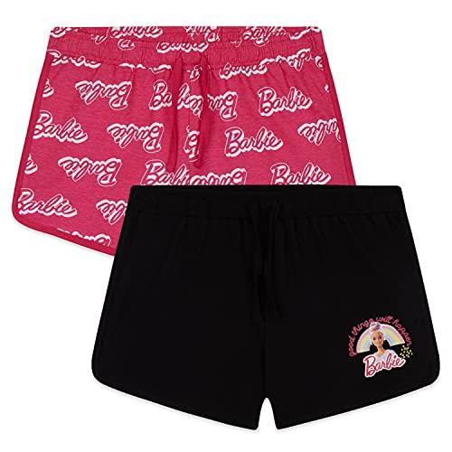 Barbie Pantalon Corto Niña, Pantalones Cortos 100% Algodón, Pack de 2 Shorts para Niña De 3-14 Años (Rosa/Negro, 7-8 años)