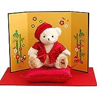 【プティルウ】還暦祝いに贈る、赤いちゃんちゃんこの福べア(金屏風) 丑 うし