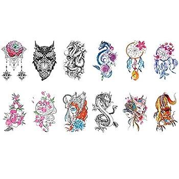 TAFLY Temporary Tattoo Colored Dream Catcher Dragon Flower Owl Body Art Arm Fake Tattoos 12 Sheets