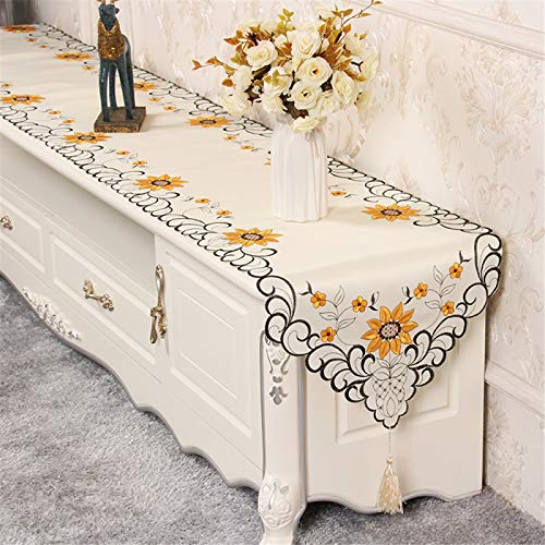 YUNSW Tv Cabinet Cover Cloth Hollow Embroidered Table Runner, Modern And Simple Living Room Household Tassel Rectangular Cover Towel