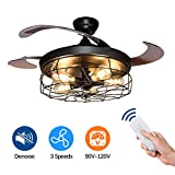 DLLT Ceiling Fan with Lights-42 Inch Industrial Ceiling Fan with...