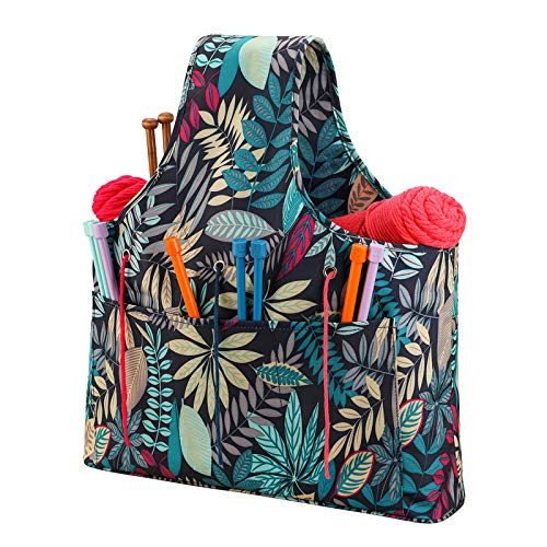 Coopay Knitting Project Bag, Lightweight Knitting Bag, Craft Storage Bags for Crochet, Knitting, Cross Stitch and Embroidery, Travel Yarn Bag with Drawstring Closure, 16.5×3.9×19 inches, Rainforest