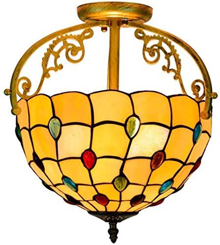DALUXE Tiffany Stile Illuminazione a soffitto lampade a Sospensione soffitto di Vetro colorato 12 Pollici con Perline di Cristallo, Camera da Letto, disimpegno, Bagno, Soggiorno