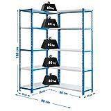 Estantería esquinera metálica sin tornillos Simoncorner de 10 estantes Azul/Blanco Simonrack 1800x900x300 mms - Estantería esquinera- Estantería para oficina - 80 Kgs de capacidad por estante