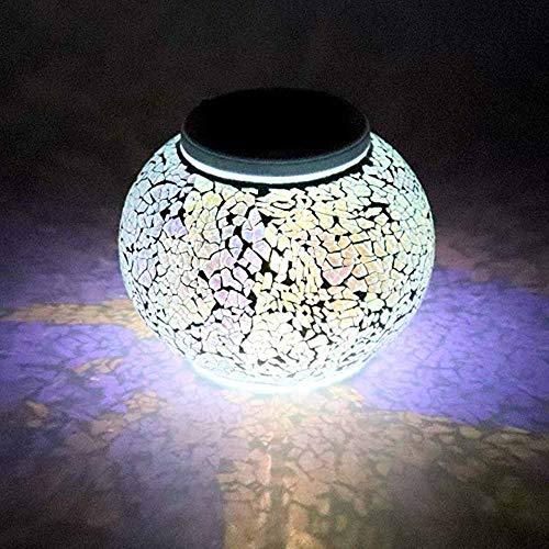 SA&LAM Solarmosaik-Glaskugel-Garten-Lichter, wasserdichte Farbwechsel-Stimmungs-Nachtlicht-Solartischlicht-Lampe Für Innendekorationen Im Freien