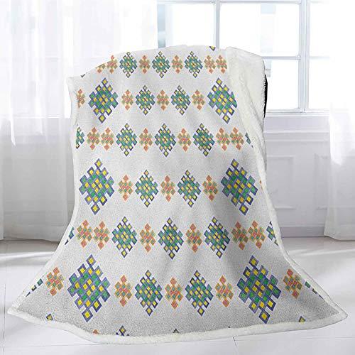 Interestlee Celtic Soft Blankets 60' x 80', Pastel Colored Unique Geometric Hexagon Celtic Motifs on White Background Irish Art Custom Blanket - Multicolor