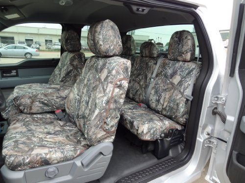 Exact Seat Covers, FD75 F488/F490 MC2-C, Custom Exact Fit Seat Covers Designed For 2011-2013 Ford F150 XL and STX Model Front 40/20/40 Split Seat with Center Fold Down Armrest and Rear 60/40 Split Seat. Water Resistant MC2 Camo Endura :