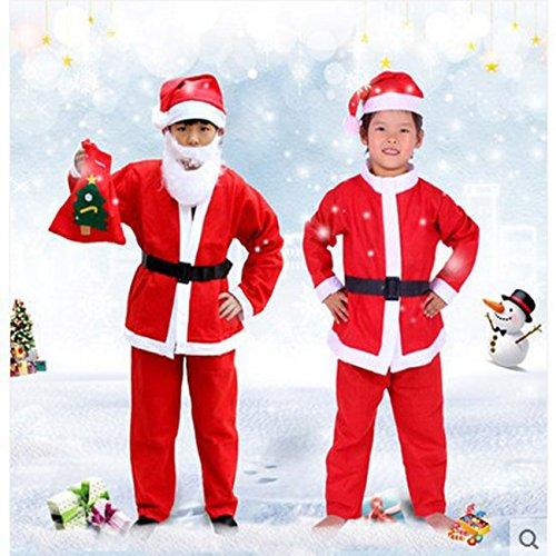 Vestito Di Babbo Natale, misura adulto con giacca, pantaloni, cintura, barba e cappello