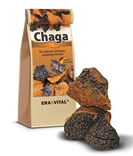 ERASVITAL® CHAGA Pilz Brocken aus Sibirien - 150g - DAS ORIGINAL - Natürlich wild gesammelt - Qualität vom Fachhandel - Schonend getrocknet - GMP-Zertifiziert - Roh & Vegan - In Deutschland Laborgeprüft