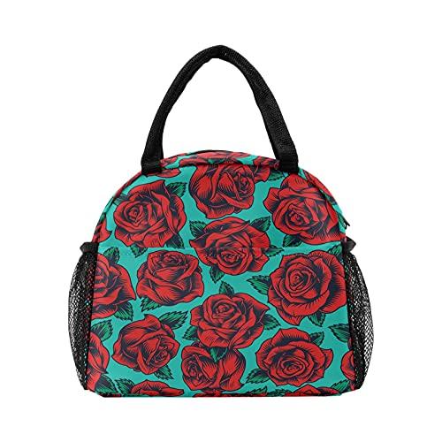 Bolsa de almuerzo retro con diseño floral de rosa roja para las mujeres con aislamiento personalizado reutilizable caja de almuerzo térmica enfriador bolsa para el trabajo Picnic