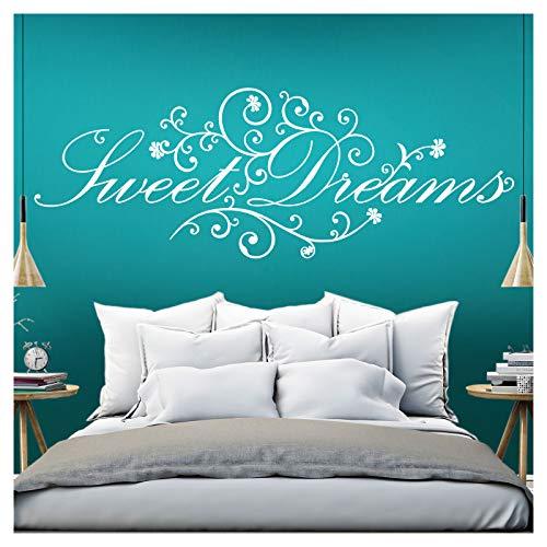 Grandora Wandtattoo Spruch Sweet Dreams I weiß (BxH) 160 x 58 cm I Schlafzimmer süße Träume selbstklebend Sticker Aufkleber Wandaufkleber Wandsticker W718